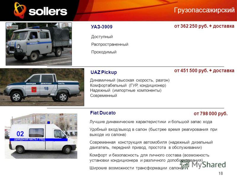 18 Грузопассажирский UAZ Pickup УАЗ-3909 Fiat Ducato Доступный Распространенный Проходимый Динамичный (высокая скорость, разгон) Комфортабельный (ГУР, кондиционер) Надежный (импортные компоненты) Современный Дежурная часть ГУВД 02 Лучшие динамические