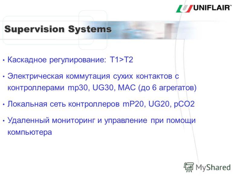 Supervision Systems Каскадное регулирование: T1>T2 Электрическая коммутация сухих контактов с контроллерами mp30, UG30, MAC (до 6 агрегатов) Локальная сеть контроллеров mP20, UG20, pCO2 Удаленный мониторинг и управление при помощи компьютера SISTEMI