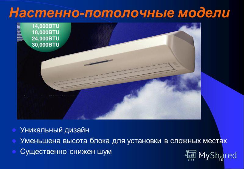 10 Настенно-потолочные модели Уникальный дизайн Уменьшена высота блока для установки в сложных местах Существенно снижен шум