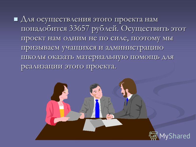 Для осуществления этого проекта нам понадобится 33657 рублей. Осуществить этот проект нам одним не по силе, поэтому мы призываем учащихся и администрацию школы оказать материальную помощь для реализации этого проекта. Для осуществления этого проекта