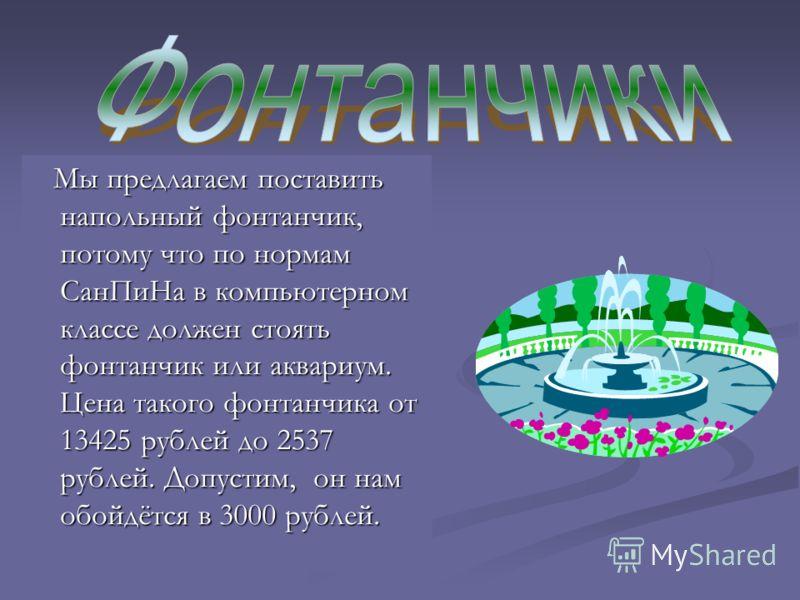 Мы предлагаем поставить напольный фонтанчик, потому что по нормам СанПиНа в компьютерном классе должен стоять фонтанчик или аквариум. Цена такого фонтанчика от 13425 рублей до 2537 рублей. Допустим, он нам обойдётся в 3000 рублей. Мы предлагаем поста