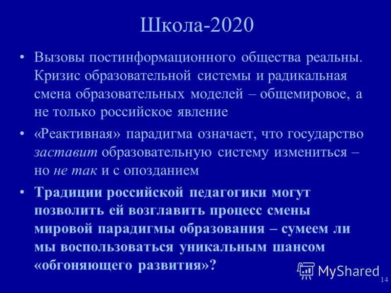 14 Школа-2020 Вызовы постинформационного общества реальны. Кризис образовательной системы и радикальная смена образовательных моделей – общемировое, а не только российское явление «Реактивная» парадигма означает, что государство заставит образователь