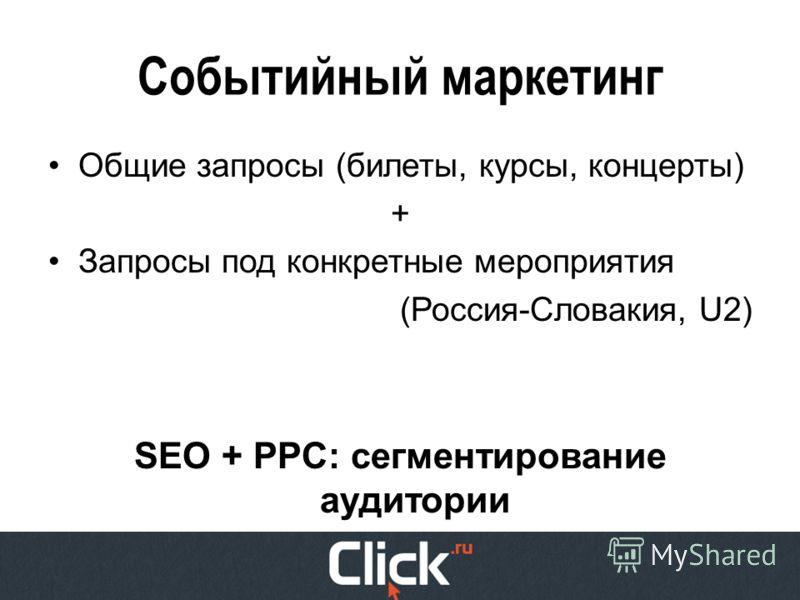Событийный маркетинг Общие запросы (билеты, курсы, концерты) + Запросы под конкретные мероприятия (Россия-Словакия, U2) SEO + PPC: сегментирование аудитории