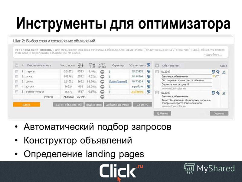 Инструменты для оптимизатора Автоматический подбор запросов Конструктор объявлений Определение landing pages