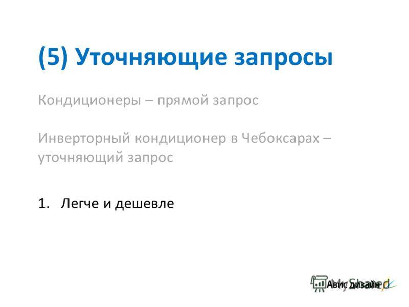 (5) Уточняющие запросы Кондиционеры – прямой запрос Инверторный кондиционер в Чебоксарах – уточняющий запрос 1.Легче и дешевле