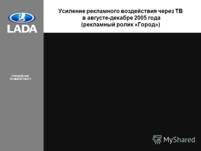 УПРАВЛЕНИЕ ПО МАРКЕТИНГУ 12 Усиление рекламного воздействия через ТВ в августе-декабре 2005 года (рекламный ролик «Город»)