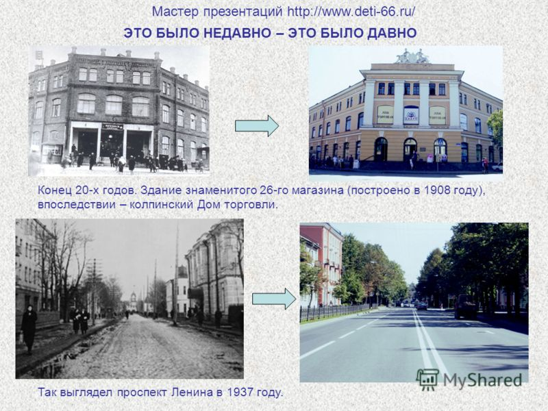 ЭТО БЫЛО НЕДАВНО – ЭТО БЫЛО ДАВНО Конец 20-х годов. Здание знаменитого 26-го магазина (построено в 1908 году), впоследствии – колпинский Дом торговли. Так выглядел проспект Ленина в 1937 году. Мастер презентаций http://www.deti-66.ru/