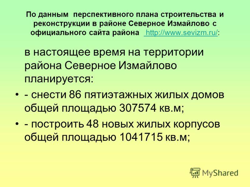 По данным перспективного плана строительства и реконструкции в районе Северное Измайлово с официального сайта района http://www.sevizm.ru/: http://www.sevizm.ru/ в настоящее время на территории района Северное Измайлово планируется: - снести 86 пятиэ