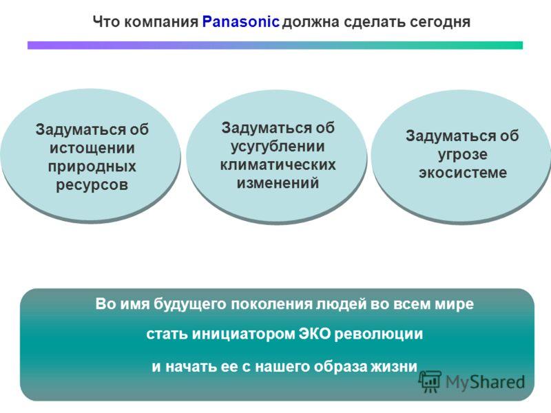 Что компания Panasonic должна сделать сегодня Задуматься об истощении природных ресурсов Задуматься об усугублении климатических изменений Задуматься об угрозе экосистеме Во имя будущего поколения людей во всем мире стать инициатором ЭКО революции и