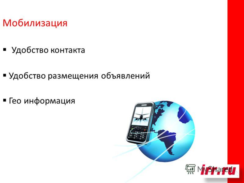 Удобство контакта Удобство размещения объявлений Гео информация