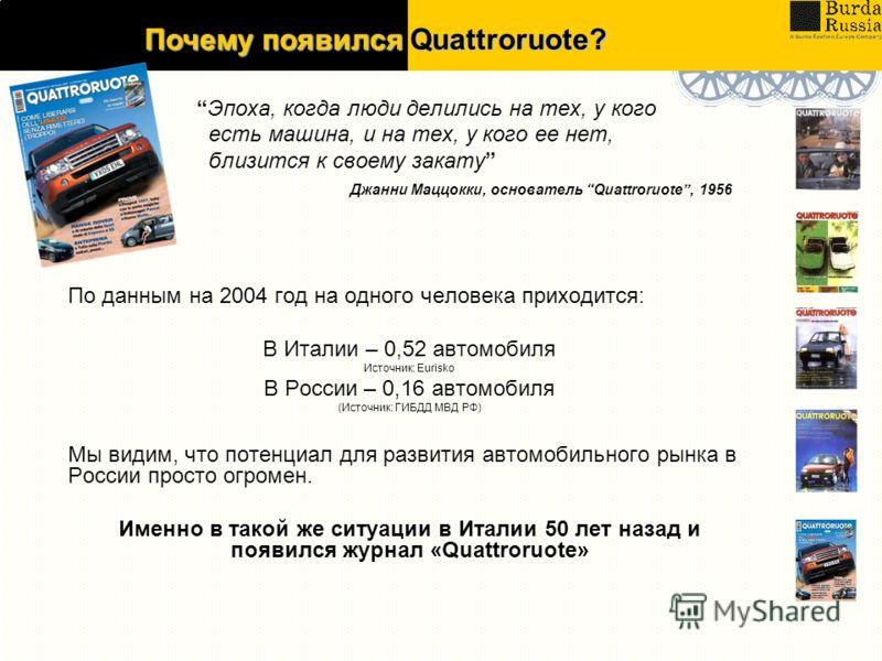 Эпоха, когда люди делились на тех, у кого есть машина, и на тех, у кого ее нет, близится к своему закату Джанни Маццокки, основатель Quattroruote, 1956 По данным на 2004 год на одного человека приходится: В Италии – 0,52 автомобиля Источник: Eurisko