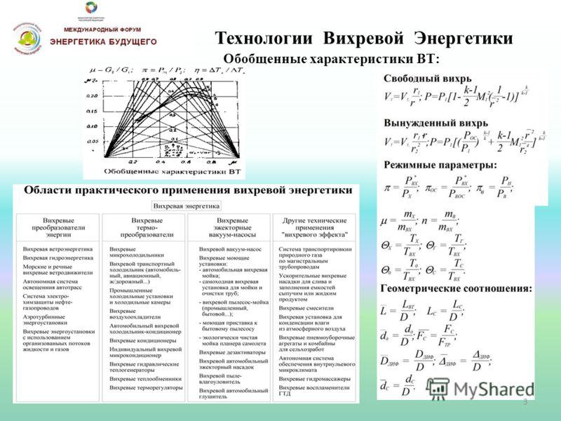 Технологии Вихревой Энергетики Обобщенные характеристики ВТ: 3