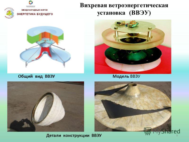 Вихревая ветроэнергетическая установка (ВВЭУ) Общий вид ВВЭУ Детали конструкции ВВЭУ Модель ВВЭУ 9