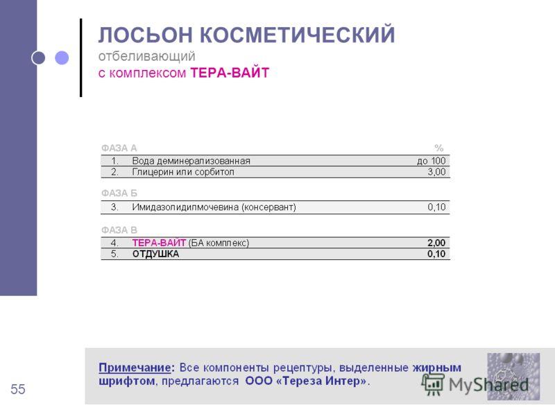 55 ЛОСЬОН КОСМЕТИЧЕСКИЙ отбеливающий с комплексом ТЕРА-ВАЙТ
