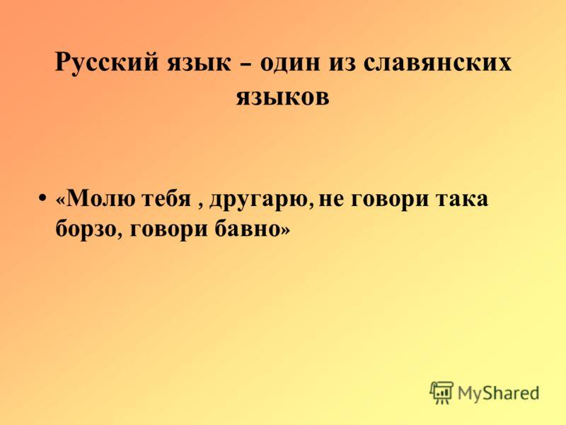 Русский язык – один из славянских языков « Молю тебя, другарю, не говори така борзо, говори бавно »