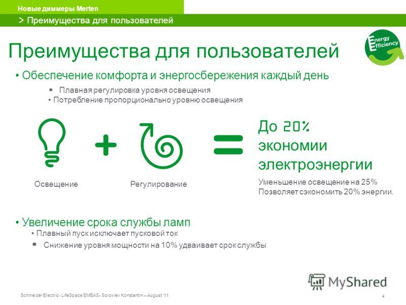 Schneider Electric 4 - LifeSpace EMEAS- Soloviev Konstantin – August 11 Новые диммеры Merten Преимущества для пользователей > Преимущества для пользователей ОсвещениеРегулирование До 20% экономии электроэнергии Уменьшение освещение на 25% Позволяет с