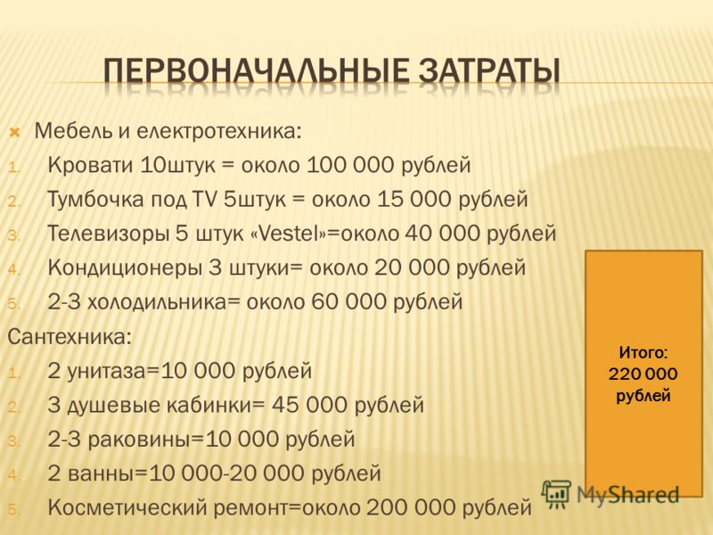 Мебель и електротехника: 1. Кровати 10штук = около 100 000 рублей 2. Тумбочка под TV 5штук = около 15 000 рублей 3. Телевизоры 5 штук «Vestel»=около 40 000 рублей 4. Кондиционеры 3 штуки= около 20 000 рублей 5. 2-3 холодильника= около 60 000 рублей С