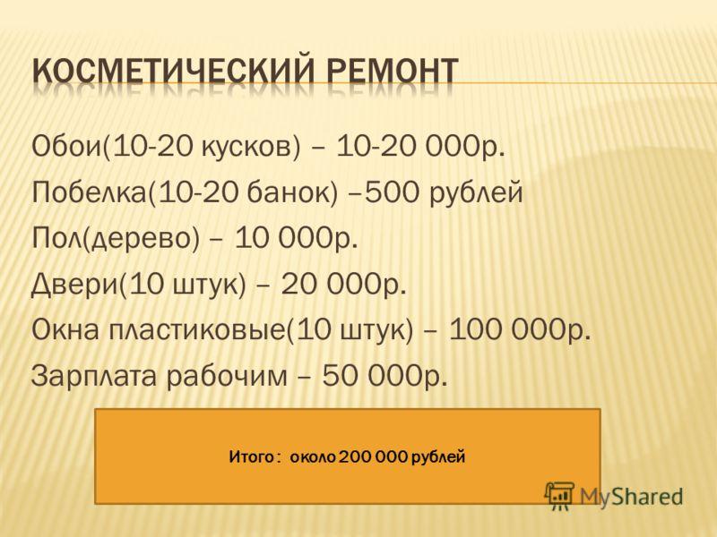 Обои(10-20 кусков) – 10-20 000р. Побелка(10-20 банок) –500 рублей Пол(дерево) – 10 000р. Двери(10 штук) – 20 000р. Окна пластиковые(10 штук) – 100 000р. Зарплата рабочим – 50 000р. Итого : около 200 000 рублей