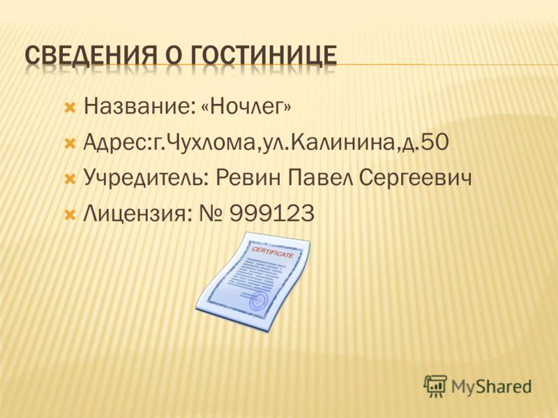 Название: «Ночлег» Адрес:г.Чухлома,ул.Калинина,д.50 Учредитель: Ревин Павел Сергеевич Лицензия: 999123