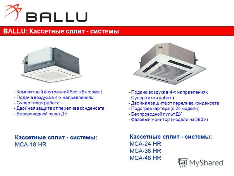 - Компактный внутренний блок (Eurosize ) - Подача воздуха в 4-х направлениях - Супер тихая работа - Двойная защита от перелива конденсата - Беспроводной пульт ДУ - Подача воздуха в 4-х направлениях - Супер тихая работа - Двойная защита от перелива ко