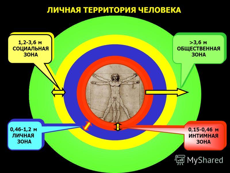 >3,6 м ОБЩЕСТВЕННАЯ ЗОНА ЛИЧНАЯ ТЕРРИТОРИЯ ЧЕЛОВЕКА 0,46-1,2 м ЛИЧНАЯ ЗОНА 1,2-3,6 м СОЦИАЛЬНАЯ ЗОНА 0,15-0,46 м ИНТИМНАЯ ЗОНА