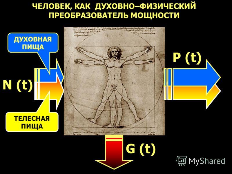 ЧЕЛОВЕК, КАК ДУХОВНО–ФИЗИЧЕСКИЙ ПРЕОБРАЗОВАТЕЛЬ МОЩНОСТИ ДУХОВНАЯ ПИЩА ТЕЛЕСНАЯ ПИЩА N (t) P (t) G (t)
