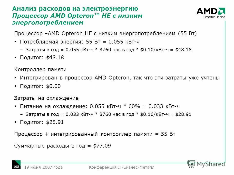 Конференция IT-Бизнес-Металл 105 19 июня 2007 года Процессор –AMD Opteron HE с низким энергопотреблением (55 Вт) Потребляемая энергия: 55 Вт = 0.055 кВт-ч –Затраты в год = 0.055 кВт-ч * 8760 час в год * $0.10/кВт-ч = $48.18 Подитог: $48.18 Контроллер