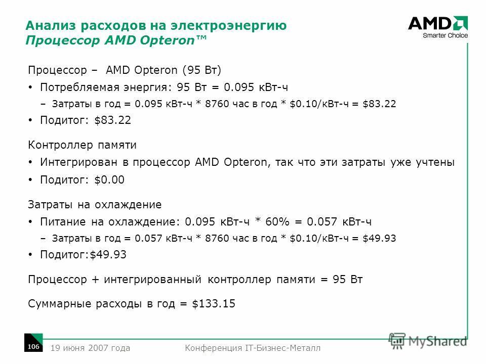 Конференция IT-Бизнес-Металл 106 19 июня 2007 года Процессор – AMD Opteron (95 Вт) Потребляемая энергия: 95 Вт = 0.095 кВт-ч –Затраты в год = 0.095 кВт-ч * 8760 час в год * $0.10/кВт-ч = $83.22 Подитог: $83.22 Контроллер памяти Интегрирован в процесс