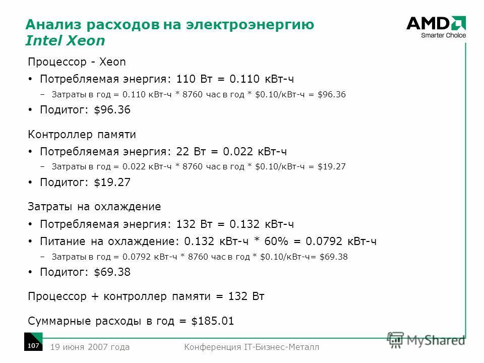 Конференция IT-Бизнес-Металл 107 19 июня 2007 года Анализ расходов на электроэнергию Intel Xeon Процессор - Xeon Потребляемая энергия: 110 Вт = 0.110 кВт-ч –Затраты в год = 0.110 кВт-ч * 8760 час в год * $0.10/кВт-ч = $96.36 Подитог: $96.36 Контролле