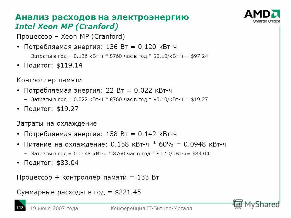 Конференция IT-Бизнес-Металл 113 19 июня 2007 года Анализ расходов на электроэнергию Intel Xeon MP (Cranford) Процессор – Xeon MP (Cranford) Потребляемая энергия: 136 Вт = 0.120 кВт-ч –Затраты в год = 0.136 кВт-ч * 8760 час в год * $0.10/кВт-ч = $97.