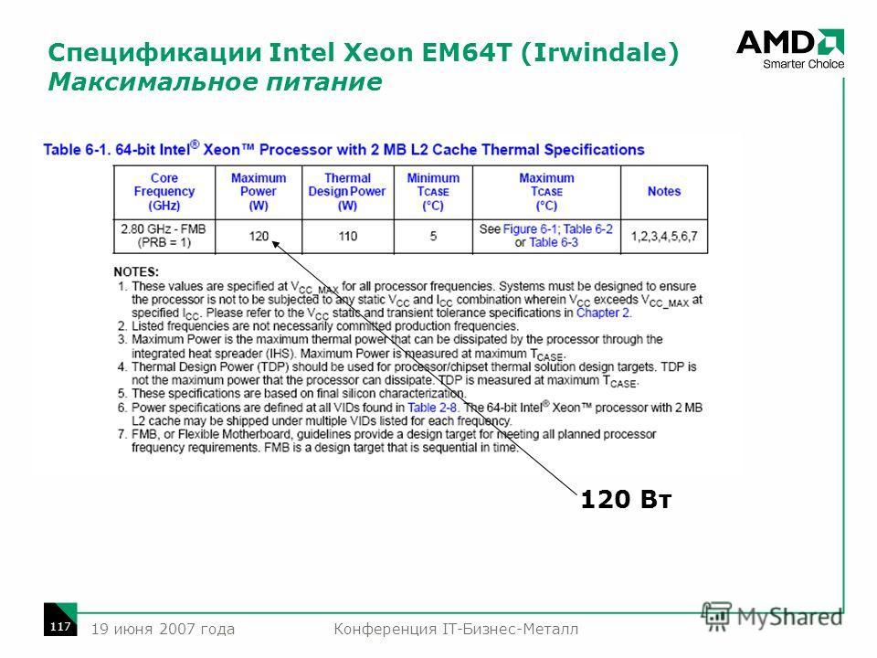 Конференция IT-Бизнес-Металл 117 19 июня 2007 года Спецификации Intel Xeon EM64T (Irwindale) Максимальное питание 120 Вт