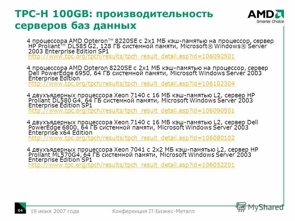 Конференция IT-Бизнес-Металл 84 19 июня 2007 года TPC-H 100GB: производительность серверов баз данных 4 процессора AMD Opteron 8220SE с 2x1 МБ кэш-памятью на процессор, сервер HP Proliant DL585 G2, 128 ГБ системной памяти, Microsoft® Windows® Server