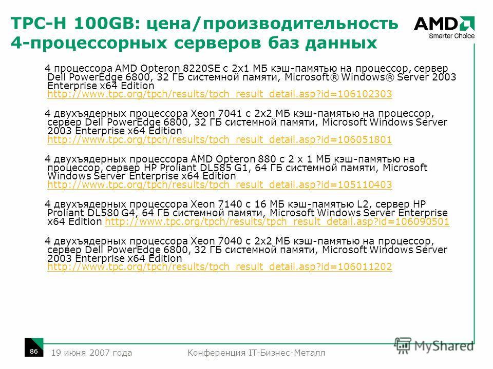 Конференция IT-Бизнес-Металл 86 19 июня 2007 года TPC-H 100GB: цена/производительность 4-процессорных серверов баз данных 4 процессора AMD Opteron 8220SE с 2x1 МБ кэш-памятью на процессор, сервер Dell PowerEdge 6800, 32 ГБ системной памяти, Microsoft
