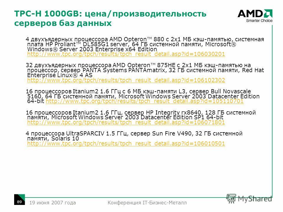 Конференция IT-Бизнес-Металл 89 19 июня 2007 года TPC-H 1000GB: цена/производительность серверов баз данных 4 двухъядерных процессора AMD Opteron 880 с 2x1 МБ кэш-памятью, системная плата HP Proliant DL585G1 server, 64 ГБ системной памяти, Microsoft®