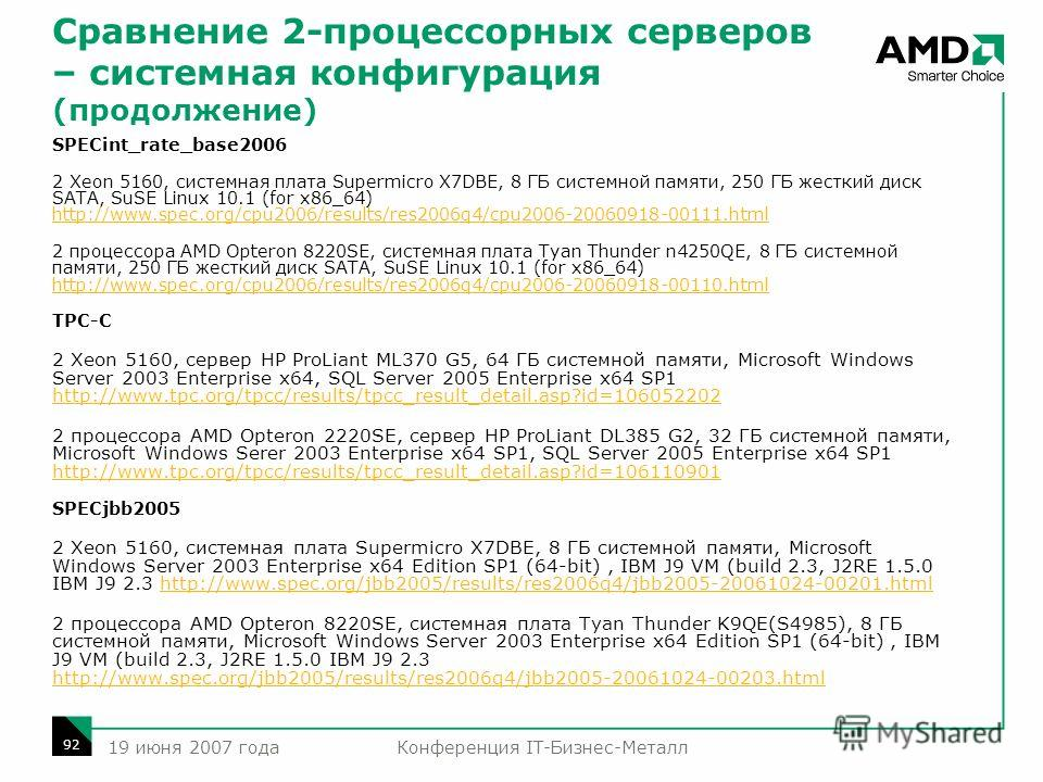 Конференция IT-Бизнес-Металл 92 19 июня 2007 года SPECint_rate_base2006 2 Xeon 5160, системная плата Supermicro X7DBE, 8 ГБ системной памяти, 250 ГБ жесткий диск SATA, SuSE Linux 10.1 (for x86_64) http://www.spec.org/cpu2006/results/res2006q4/cpu2006