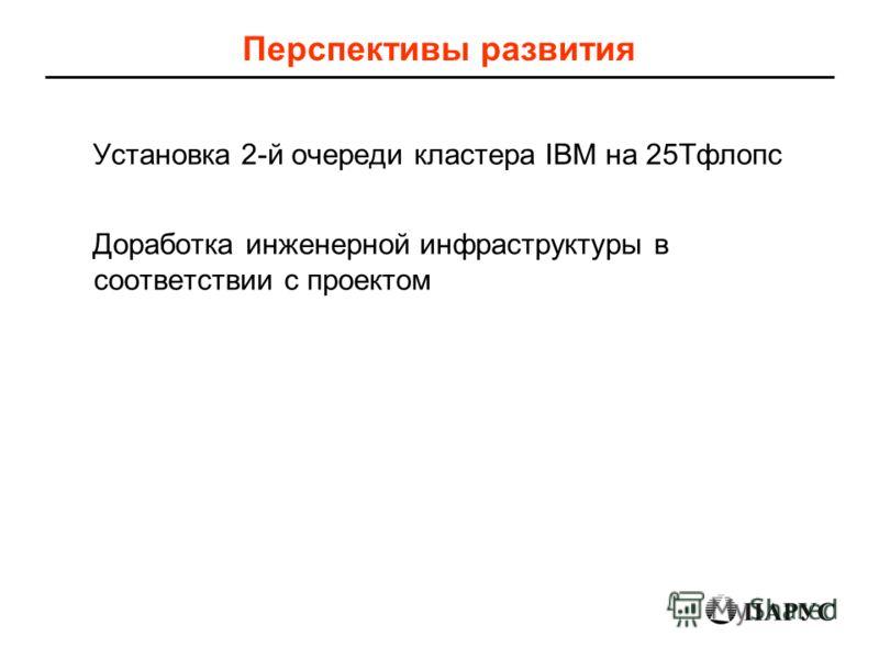 Перспективы развития Установка 2-й очереди кластера IBM на 25Тфлопс Доработка инженерной инфраструктуры в соответствии с проектом
