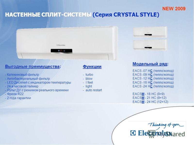 НАСТЕННЫЕ СПЛИТ-СИСТЕМЫ(Серия CRYSTAL STYLE) НАСТЕННЫЕ СПЛИТ-СИСТЕМЫ (Серия CRYSTAL STYLE) Модельный ряд: EACS -07 HC (тепло/холод) EACS -09 HC (тепло/холод) EACS -12 HC (тепло/холод) EACS -18 HC (тепло/холод) EACS -24 HC (тепло/холод) EACSM - 18 HC