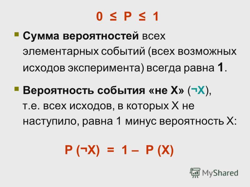 Сумма вероятностей всех элементарных событий (всех возможных исходов эксперимента) всегда равна 1. Вероятность события «не X» (¬X), т.е. всех исходов, в которых X не наступило, равна 1 минус вероятность X: P (¬X) = 1 – P (X) 0 P 1