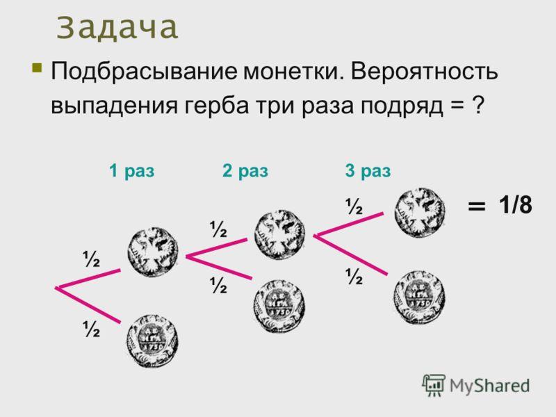 Задача Подбрасывание монетки. Вероятность выпадения герба три раза подряд = ? 1 раз ½ ½ 2 раз ½ ½ 3 раз ½ ½ 1/8 =