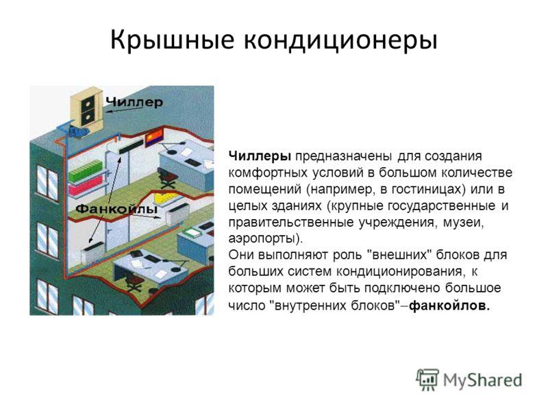 Крышные кондиционеры Чиллеры предназначены для создания комфортных условий в большом количестве помещений (например, в гостиницах) или в целых зданиях (крупные государственные и правительственные учреждения, музеи, аэропорты). Они выполняют роль