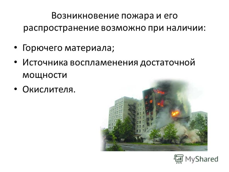 Возникновение пожара и его распространение возможно при наличии: Горючего материала; Источника воспламенения достаточной мощности Окислителя.