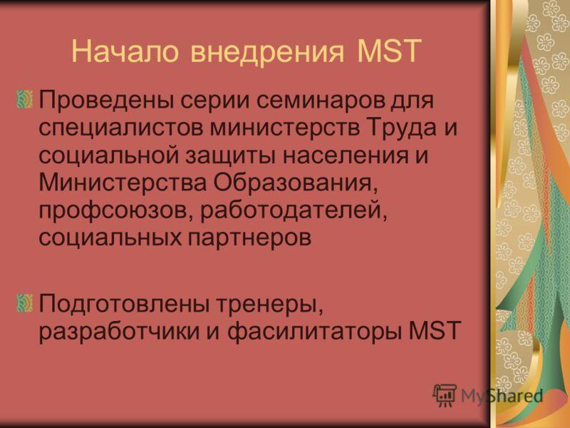 Начало внедрения MST Проведены серии семинаров для специалистов министерств Труда и социальной защиты населения и Министерства Образования, профсоюзов, работодателей, социальных партнеров Подготовлены тренеры, разработчики и фасилитаторы MST