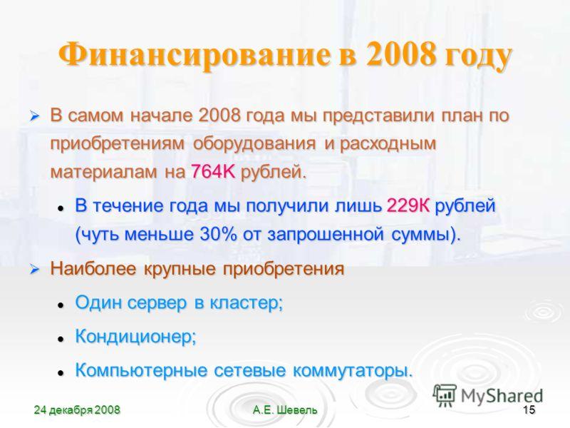 24 декабря 2008А.Е. Шевель15 Финансирование в 2008 году В самом начале 2008 года мы представили план по приобретениям оборудования и расходным материалам на 764K рублей. В самом начале 2008 года мы представили план по приобретениям оборудования и рас