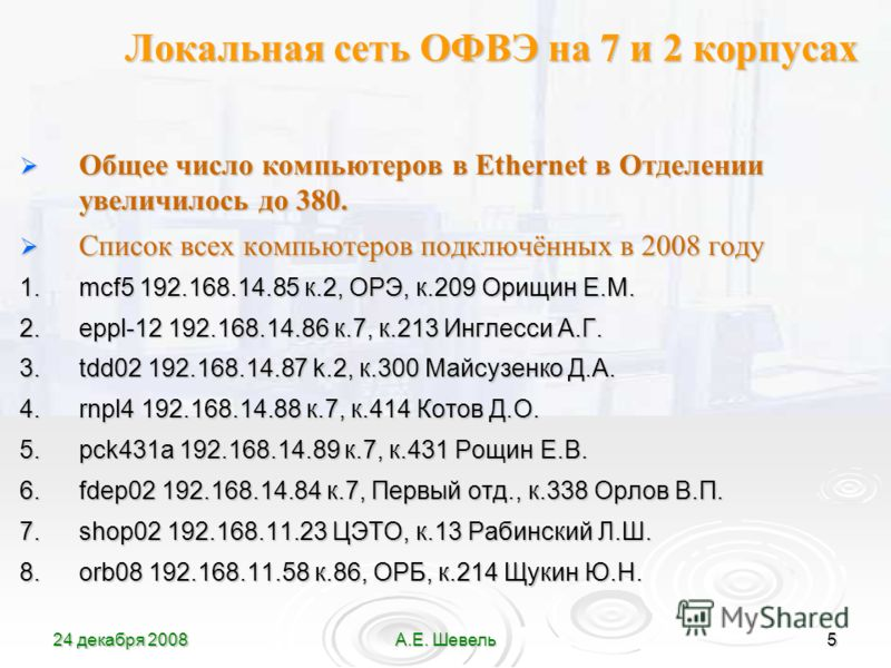 24 декабря 2008А.Е. Шевель5 Локальная сеть ОФВЭ на 7 и 2 корпусах Общее число компьютеров в Ethernet в Отделении увеличилось до 380. Общее число компьютеров в Ethernet в Отделении увеличилось до 380. Список всех компьютеров подключённых в 2008 году С