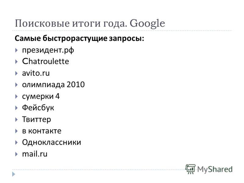 Поисковые итоги года. Google Самые быстрорастущие запросы : президент. рф Chatroulette avito.ru олимпиада 2010 сумерки 4 Фейсбук Твиттер в контакте Одноклассники mail.ru