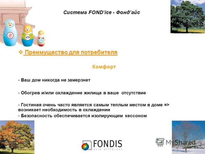 Система FONDice - Фондайс Преимущество для потребителя Преимущество для потребителя Комфорт - Ваш дом никогда не замерзнет - Обогрев и/или охлаждение жилища в ваше отсутствие - Гостиная очень часто является самым теплым местом в доме => возникает нео