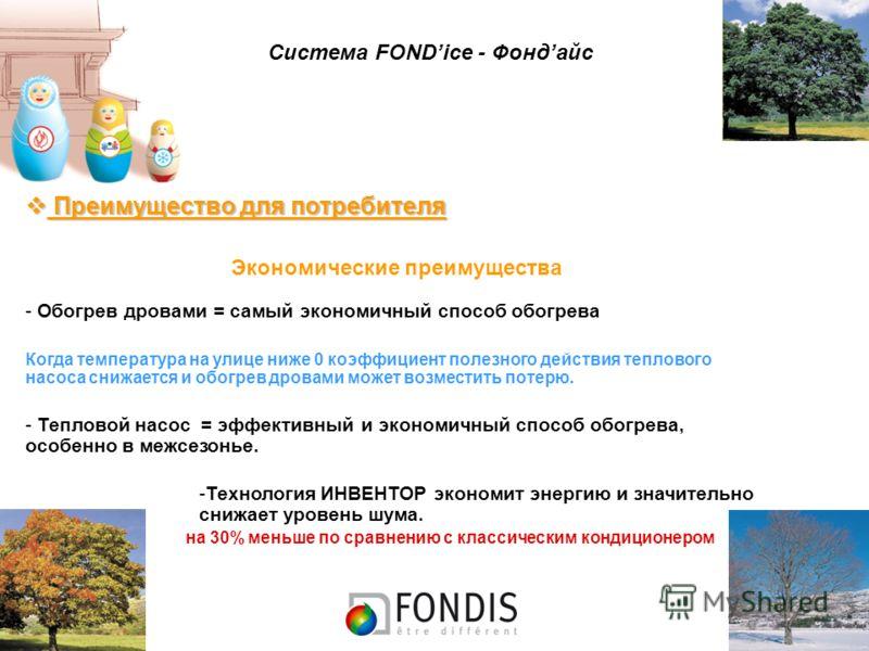 Система FONDice - Фондайс Преимущество для потребителя Преимущество для потребителя Экономические преимущества - Обогрев дровами = самый экономичный способ обогрева Когда температура на улице ниже 0 коэффициент полезного действия теплового насоса сни