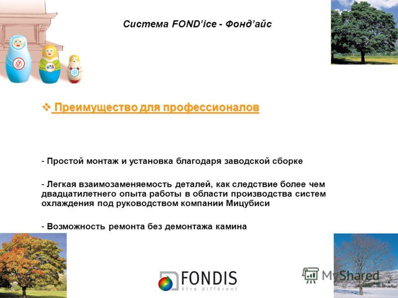 Система FONDice - Фондайс Преимущество для профессионалов Преимущество для профессионалов - Простой монтаж и установка благодаря заводской сборке - Легкая взаимозаменяемость деталей, как следствие более чем двадцатилетнего опыта работы в области прои