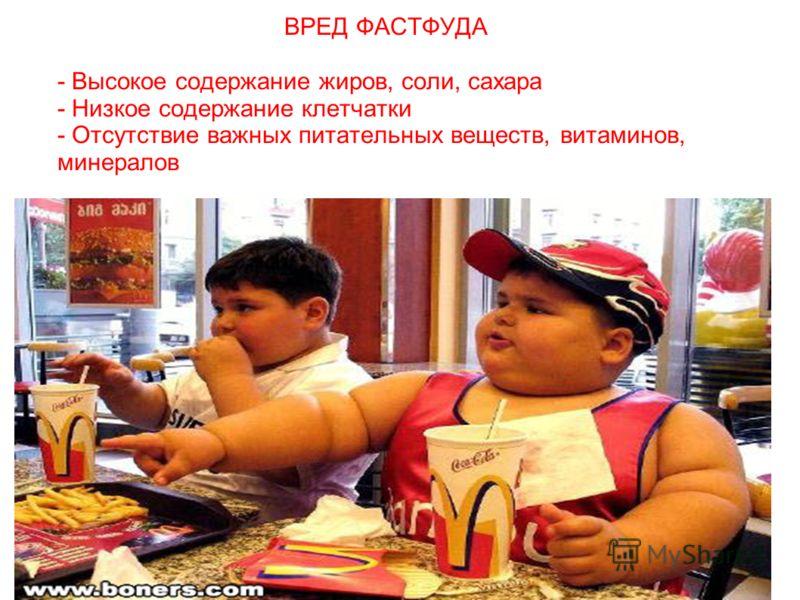 ВРЕД ФАСТФУДА - Высокое содержание жиров, соли, сахара - Низкое содержание клетчатки - Отсутствие важных питательных веществ, витаминов, минералов