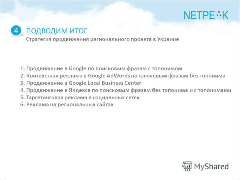 ПОДВОДИМ ИТОГ Стратегия продвижения регионального проекта в Украине 4 1. Продвижение в Google по поисковым фразам с топонимом 2. Контекстная реклама в Google AdWords по ключевым фразам без топонима 3. Продвижение в Google Local Business Center 4. Про